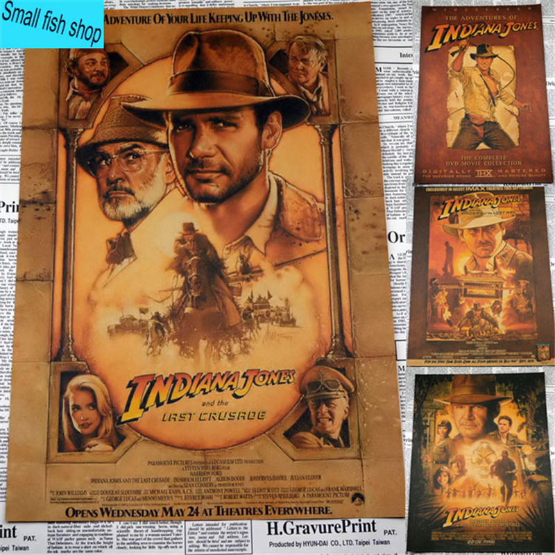 Raiders of the Lost Ark series adventure Treasure Hunt Home Furnishing decoration Kraft Movie Poster Drawing core Wall stickers image