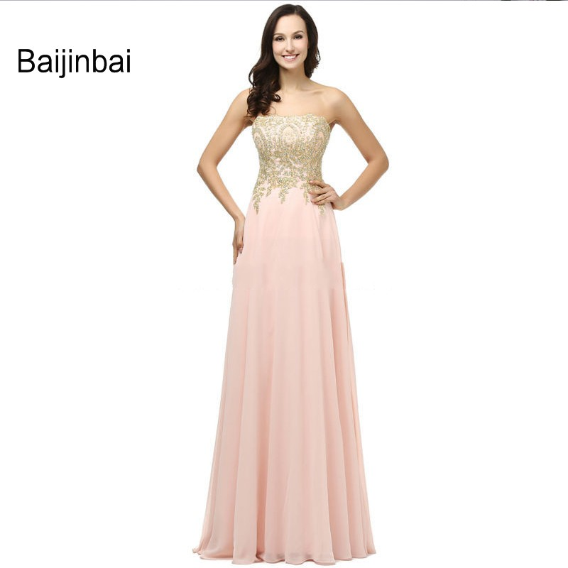 Baijinbai Pink Appliques Chiffon Bridesmaid Dresses Backless Strapless vestidos Formal Dresses For Long Special Occasion