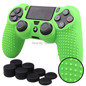 Image 3 - For Sony Dualshock PS4 DS4 Slim Pro Controller Silicone Case Protective Skin + Thumb grips Caps for Play station 4