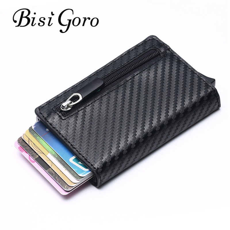 BISI GORO New RFID Wallet 2019 Antitheft Aluminum Box ID Card Holder PU Leather Pop Up Card Case Magnet Carbon Fiber Coin Purse