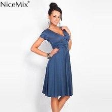 NiceMix 2019 Summer V-neck Dress Women Short Sleeve Casual Crossed  Dresses Female Elegant Solid Party Dress Vestidos
