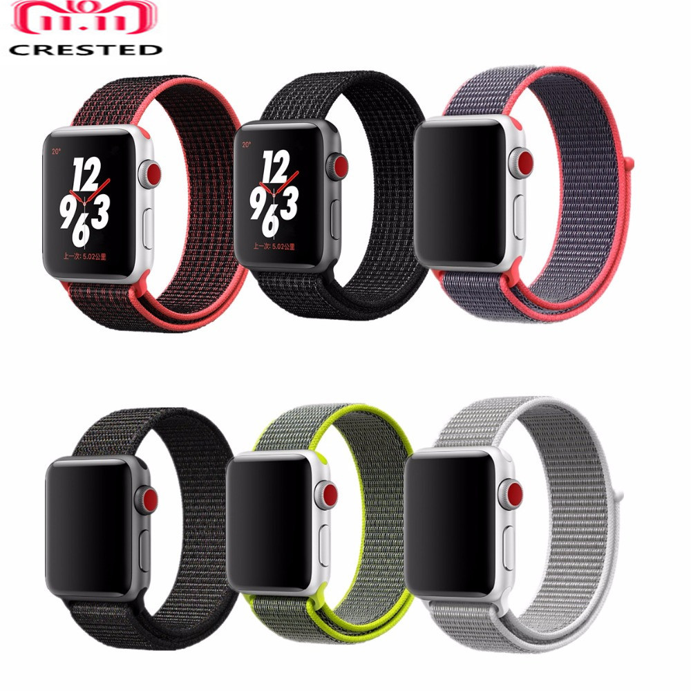 CRESTED Sport loop band For apple watch 4 44mm 42mm iwatch 4/3/2/1 40mm/38mm woven nylon Lightweight Breathable wrist bracelet woven nylon for apple watch band 4 44mm 40mm sport loop watchband iwatch series 4 3 2 1 42mm 38mm bracelet breathable wrist belt