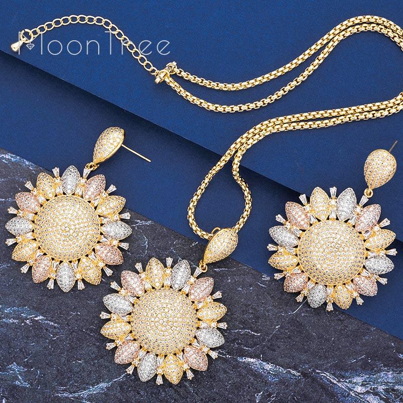 MooTree Luxury Trendy Flower Full Cubic Zircon Copper 3Tone Women Wedding Engagement Party Earring Necklace Jewelry