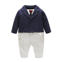 0 12 Months Baby Boy Winter Clothes New Blue Tie Two Fake Gentleman Baby Conjoined Jumpsuits Clothing for Boys