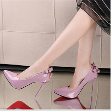 Free shipping autumn women's elegant pointed toe high-heeled shoes thin heels shallow mouth all-match bowknot single shoes