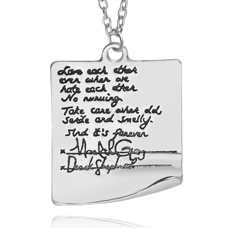 Greys Anatomy Letter Necklaces Pendants Square Handwriting Pendant ...