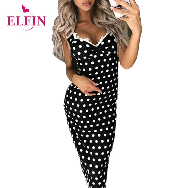 Polka Dot V Neck Bodycon Social gathering Classic Clothes Ladies Slim Match Sleeveless Attractive Elegant Lace gown Womens Clothes SJ2447R Clothes, Low-cost Clothes, Polka Dot V Neck Bodycon Social...