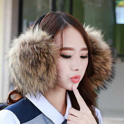FURCHARM 100% Real Fox Fur Earmuffs For Winter Women Warm Natural Raccoon Fur Earmuffs Girl's Earlap Genuine Fur Plush Ear Muff