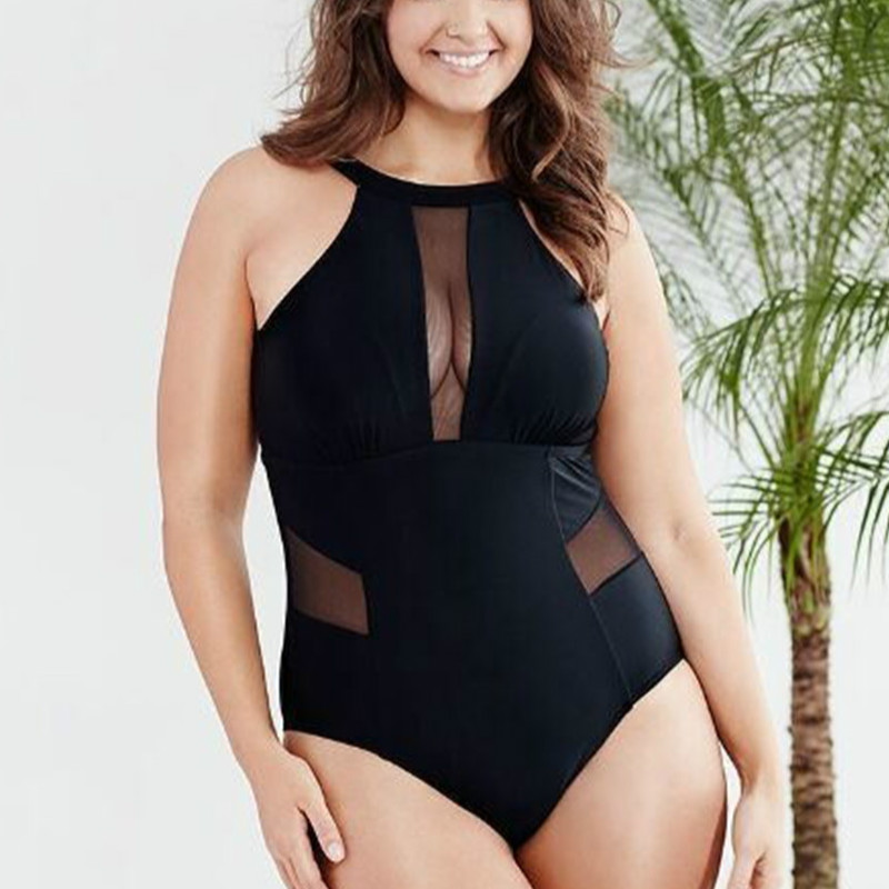 <font><b>2018</b></font> <font><b>Sexy</b></font> Monokini Plus Size <font><b>One</b></font> <font><b>Piece</b></font> <font><b>Swimsuit</b></font> Black <font><b>May</b></font> <font><b>Women</b></font> <font><b>Fused</b></font> Swimwear Female Bather Swimwear Beach Bathing Suit 3XL image