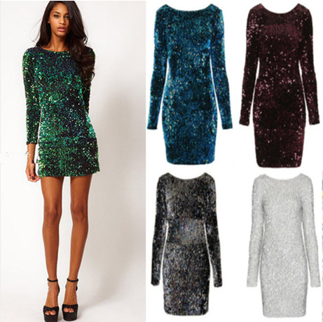 Hot Brand Plus Size Winter Party Sequins Dress Women Bodycon Boho Long Sleeve Backless Y Club Dresses 2017 Vestidos In From S