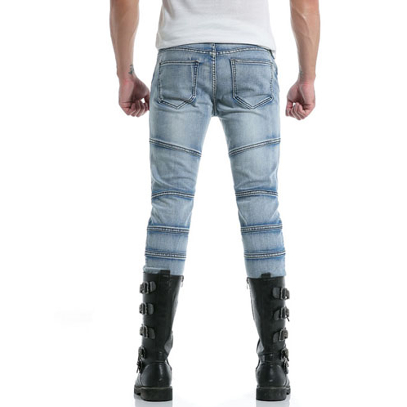 New Fashion Mens Long Pants Drawstring Slim Fit Stretch Cotton Denim Skinny Jeans Joggers Pencil Pants Pleated Light Blue Slim