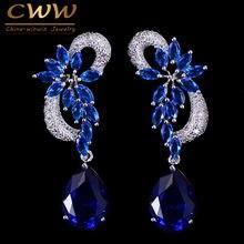 Женские серьги капли cwwzircons длинные Королевского синего