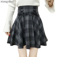 Gothic Lolita Skirt Women Ladies Winter Black Grey Plaid Pleated Ball Gown 2018 New Arrivals High Waist Lace Up Skirt Bottoms