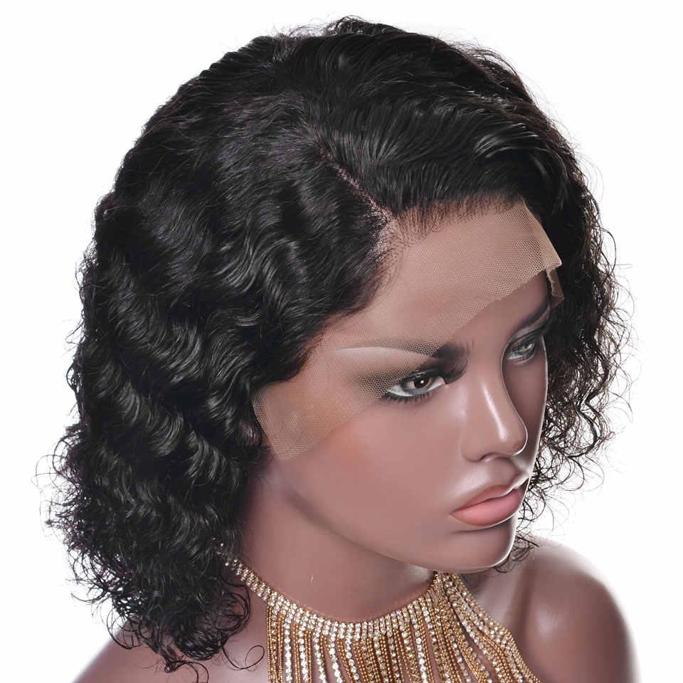 YVONNE 13x4 Brasilianisches Lockiges Menschenhaar Perücken Jungfrau Short Bob Spitze Vorne Perücken Natürliche Farbe