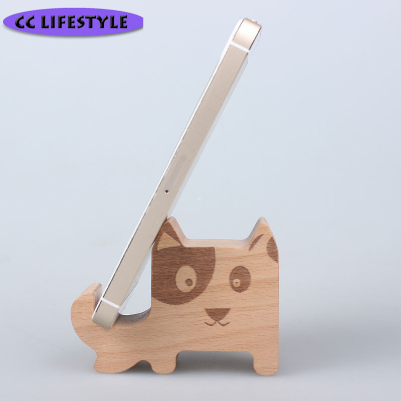 Solid Wood Mobile Phone Bracket Cartoon Puppy Kitten Desktop Phone Base Wooden Mobile Phone Free Custom кольцо коюз топаз кольцо т143015017
