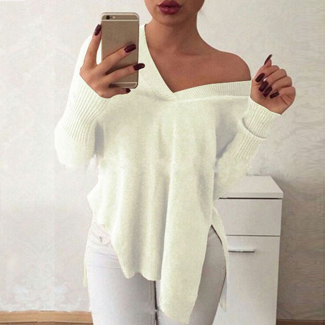 2017 Autumn Women Off Shoulder Sweater Sexy V Neck One Shoulder Casual Loose Long Sleeve Tops Split Solid Jumpers Knit Pullovers