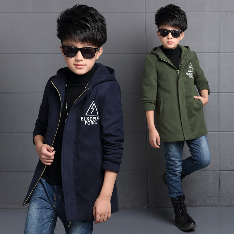 New Gentleman Style Boy Wool Coat Hooded Collar Kid Long Overcoat High Quality Thick Warm Children