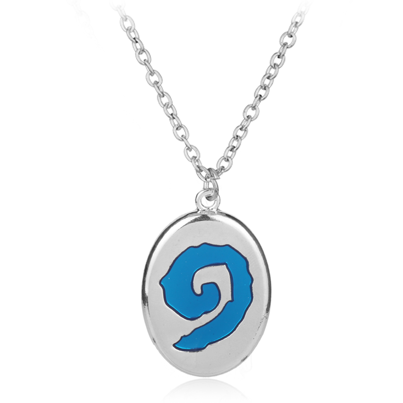 Game Jewelry Hearthstone Hero of War Craft Pendant Necklace Titanium Blue World Of Craft Tribal Symbols Titani Gift For Men
