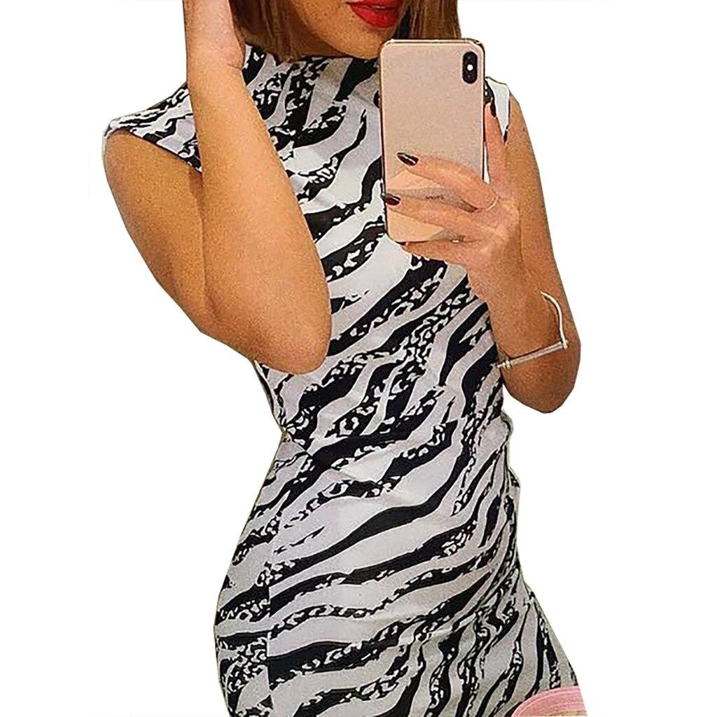 HTB1 QSabE rK1Rjy0Fcq6zEvVXao Women's Summer Dress Ladies Sexy Stripe Print Sleeveless Mini Dress Fashion  Bodycon Dresses Elegant Women sexy dresses 2019 NEW