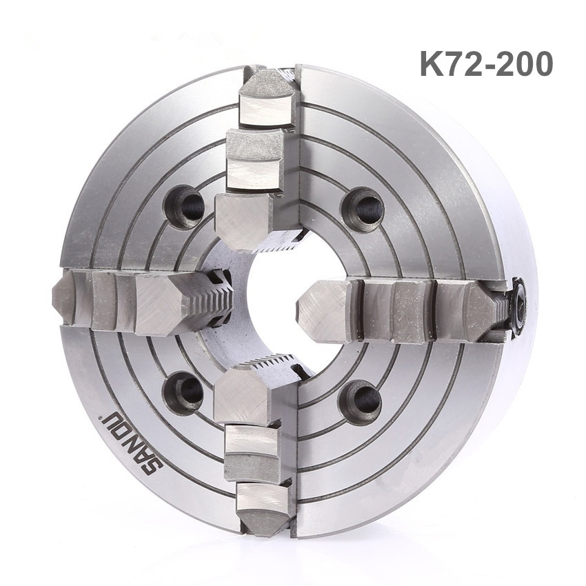 K72-200 4 Jaw Lathe Chuck Four Jaw Independent Chuck 200mm Manual for Welding Positioner Turn Table 1PK Accessories for Lathe 8 inch 3 jaw self centering wp 200 wp 200 200mm series welding table chuck quick release welding positioner welding turntable