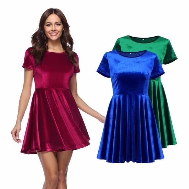e26c9cb9e3 BKLD 2018 New Arrival Spring Velvet Dress Women Red Blue Green Short Sleeve  Casual O-neck Skater Dress Ladies A-line Party Dress