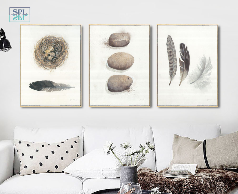 Art Decoration Conception Splspl Feather Stone Abstract Artistic Conception Decorative Painting Canvas Art Print Poster Painting Picture Wall For Home Dec In Painting
