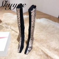 SKYYUE New Genuine Leather Snakeskin Zip Side Women Boots Square Toe Knee HIgh Moto Boots Shoes Women
