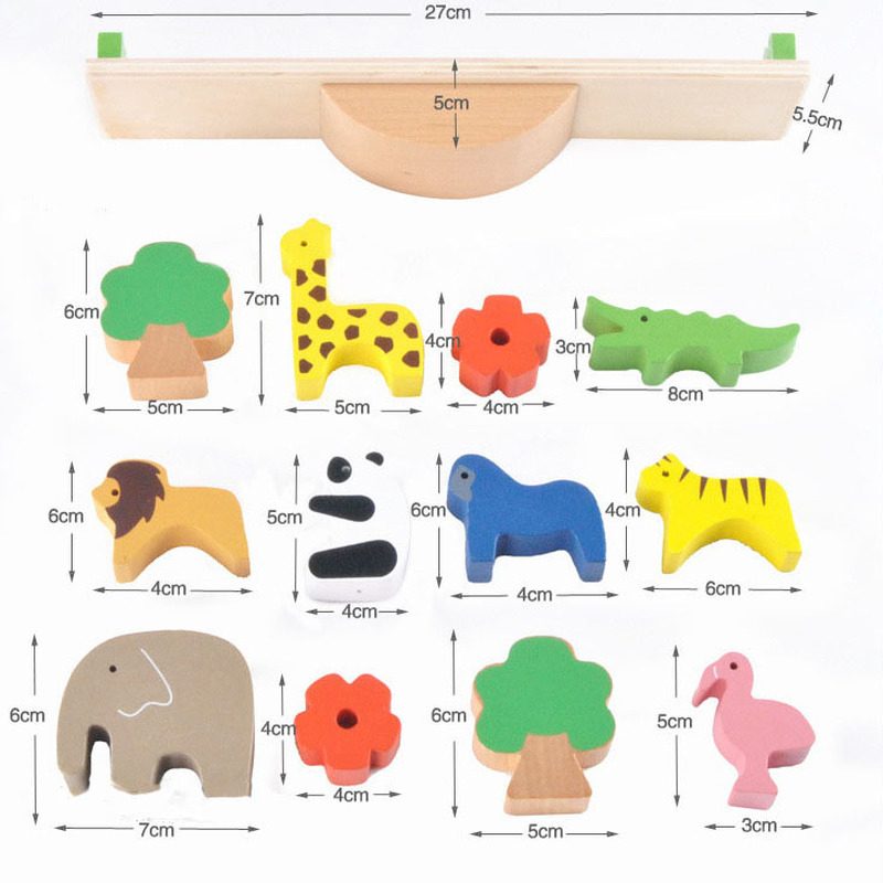 New Baby Toys Cute Forest Animal Seesaw Building Blocks Wooden Balance Wood Toys For Children Assembling Educational Toys