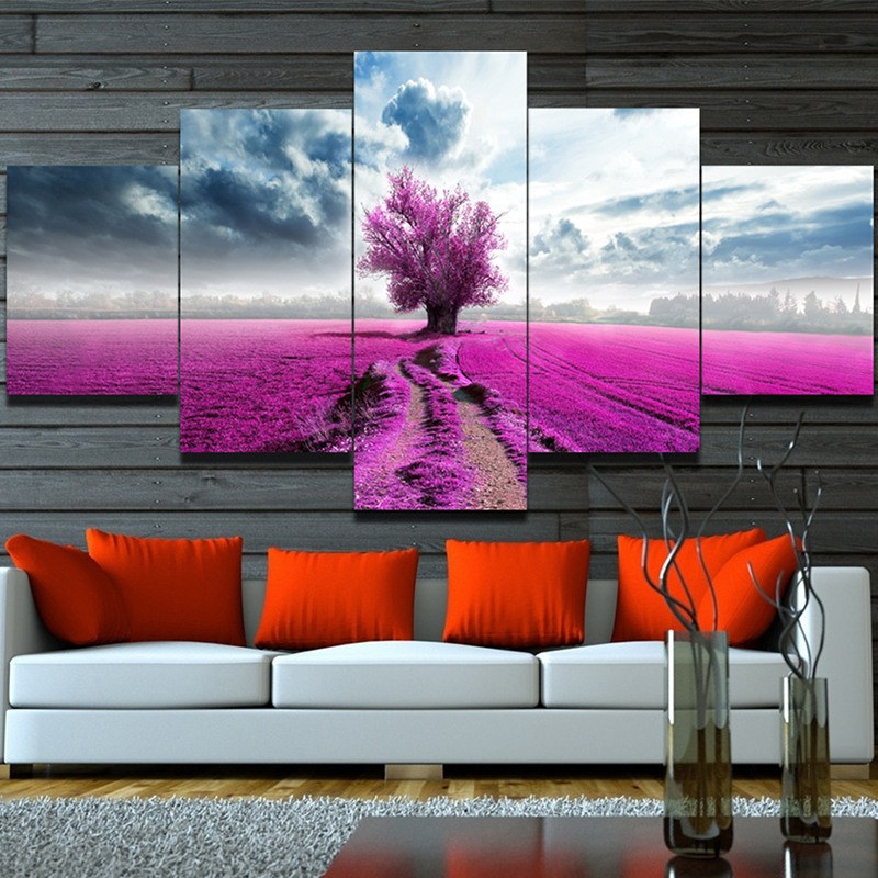 Unframed wall painting purple red lavender flowers for 10x20 living room