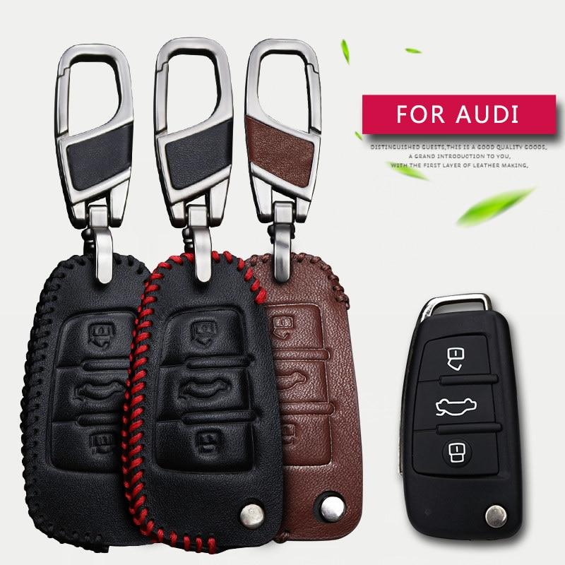 Īsta āda Vīrieši un sievietes Auto atslēga Smart Bag maku turētāja atslēgas korpuss priekš AUDI A1 A3 A4 A5 A6 A4L A6L Q3 Q5 Q7 TT