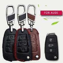 Genuine Leather Men & Women Car Key Smart Bag Wallet Holder Key Case Cover For AUDI A1 A3 A4 A5 A6 A4L A6L Q3 Q5 Q7 TT keychain