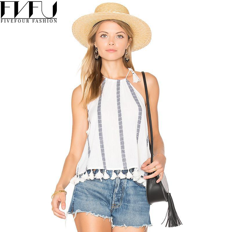 New Fashion 2017 Summer Tops Women Girls White Striped Top Wommen Cute T-shirts Tassel Casual Loose Halter Tops Plus Size