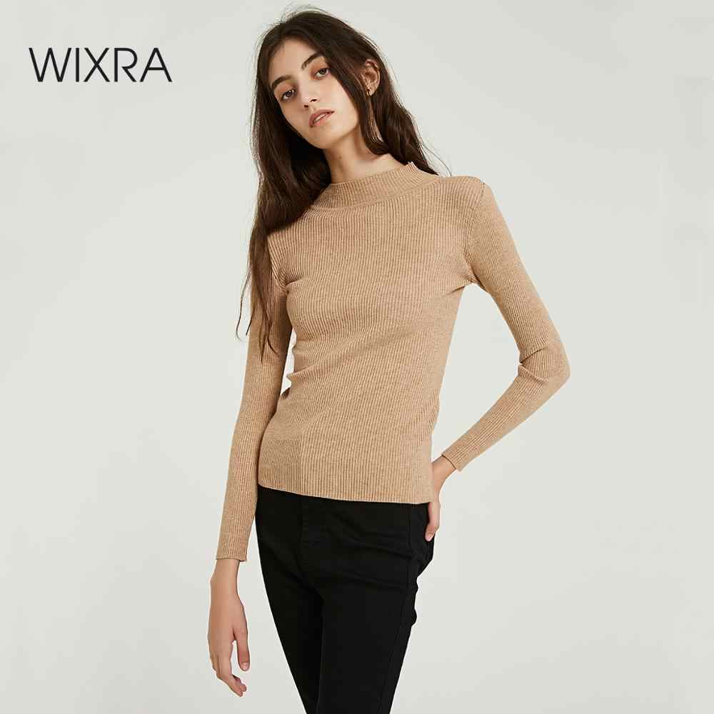 Wixra Women Slim Sweaters And Pullovers 2019 Autumn Winter Turtleneck Solid All Base Match Knitted Sweater