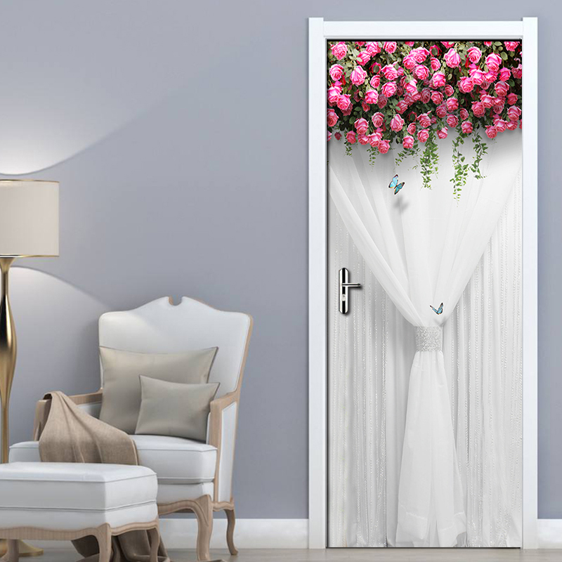 DIY Self-adhesive Door Sticker PVC Wall Mural Pink Flowers White Silk Wedding Room Bedroom Waterproof Door Decoration Wallpaper