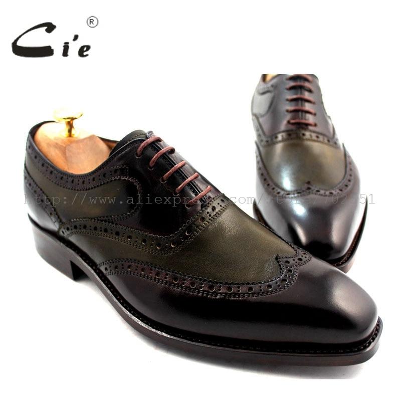 Cie gratis verzending Goodyear welted handgemaakte echt lederen schoen mannen oxford schoen bruin twee tone Wing tips jurk Geen. OX189-in Formele Schoenen van Schoenen op  Groep 1