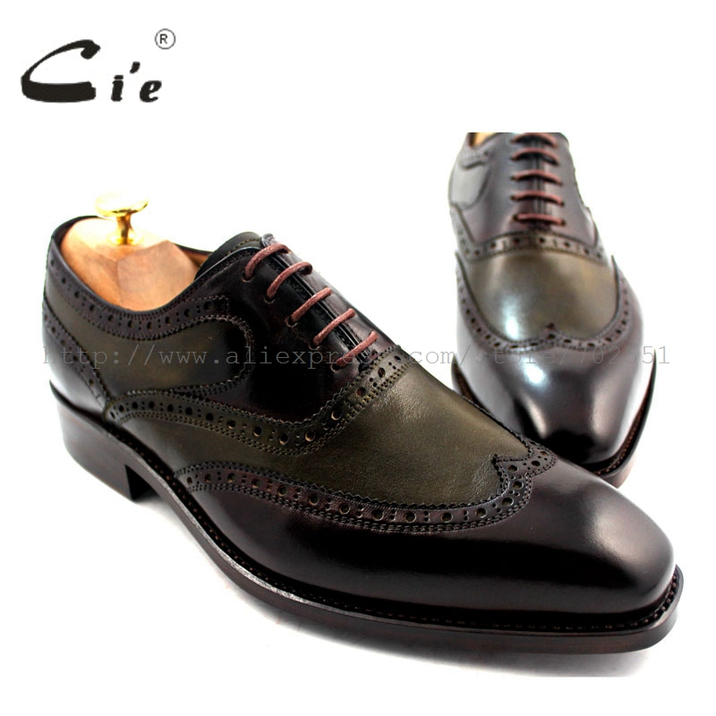 cie free shipping Goodyear welted handmade genuine calf leather shoe men's oxford shoe brown two tone Wing-tips dress No.OX189 bespoke mens goodyear welted shoes handmade custom pointed brock head layer cowhide free shipping red brown dress shoe