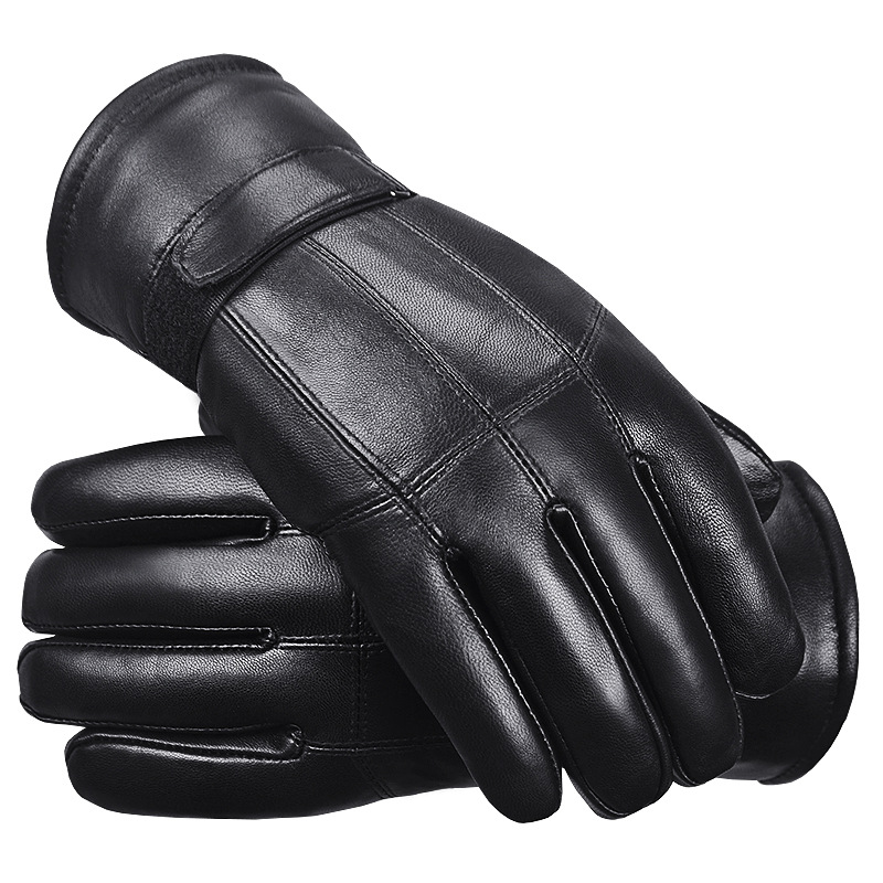 Free Shipping,Brand Men Winter Biker Leather Gloves,full Fingers Wool Outdoor Glove,black Winter Warm Fur Gloves Wholesales