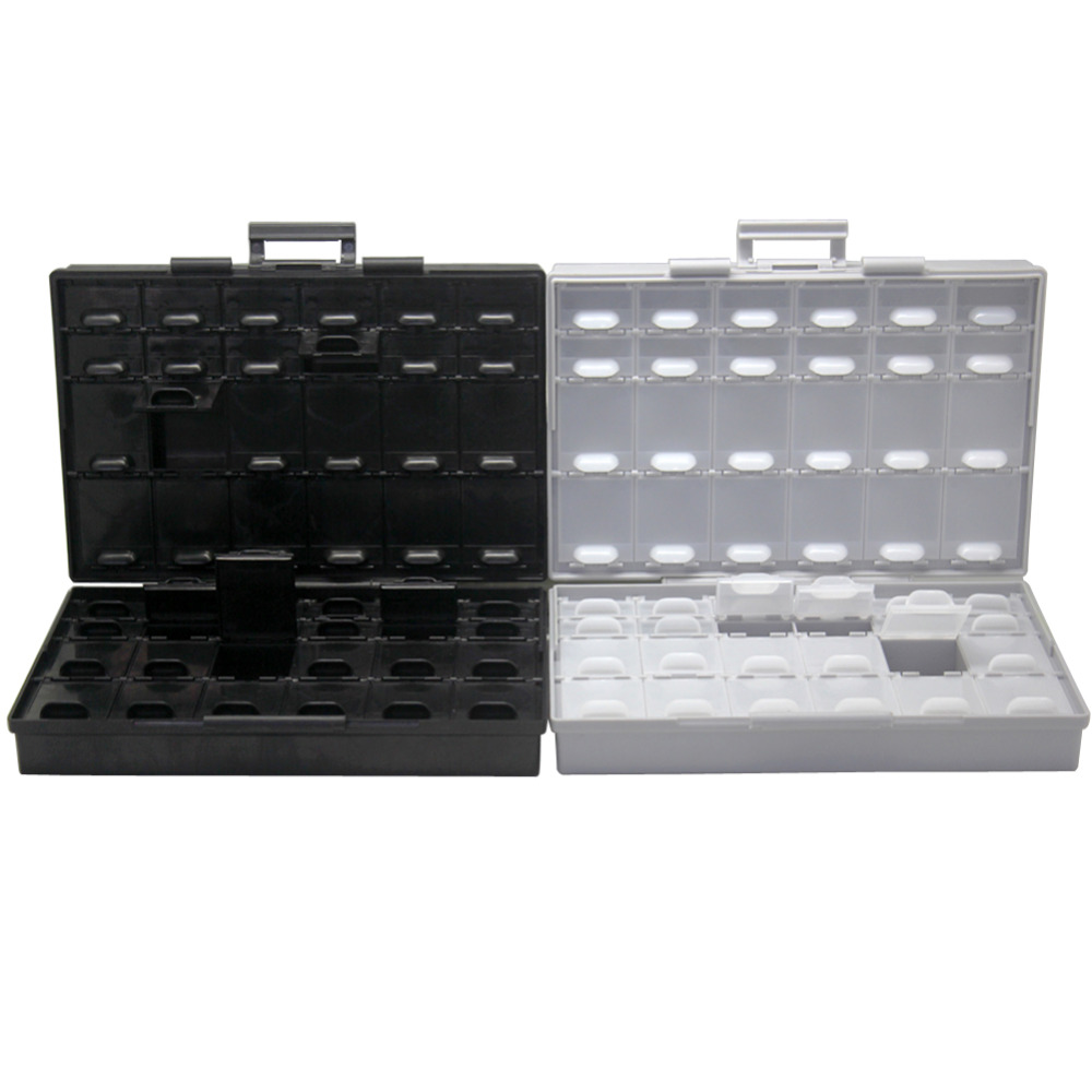 AideTek BOXAL48+BOXALL48AS Safe Enclosure For Surface Mount Components 1206 0805 0603 0402 0201plastic Storage Box Organizer ESD