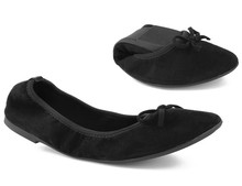 Maxmuxun Women Winter Black Foldable Ballet Flats Elastic Bowtie Ballerina  Dolly Shoes After Party Flats For a44422c3ebcd