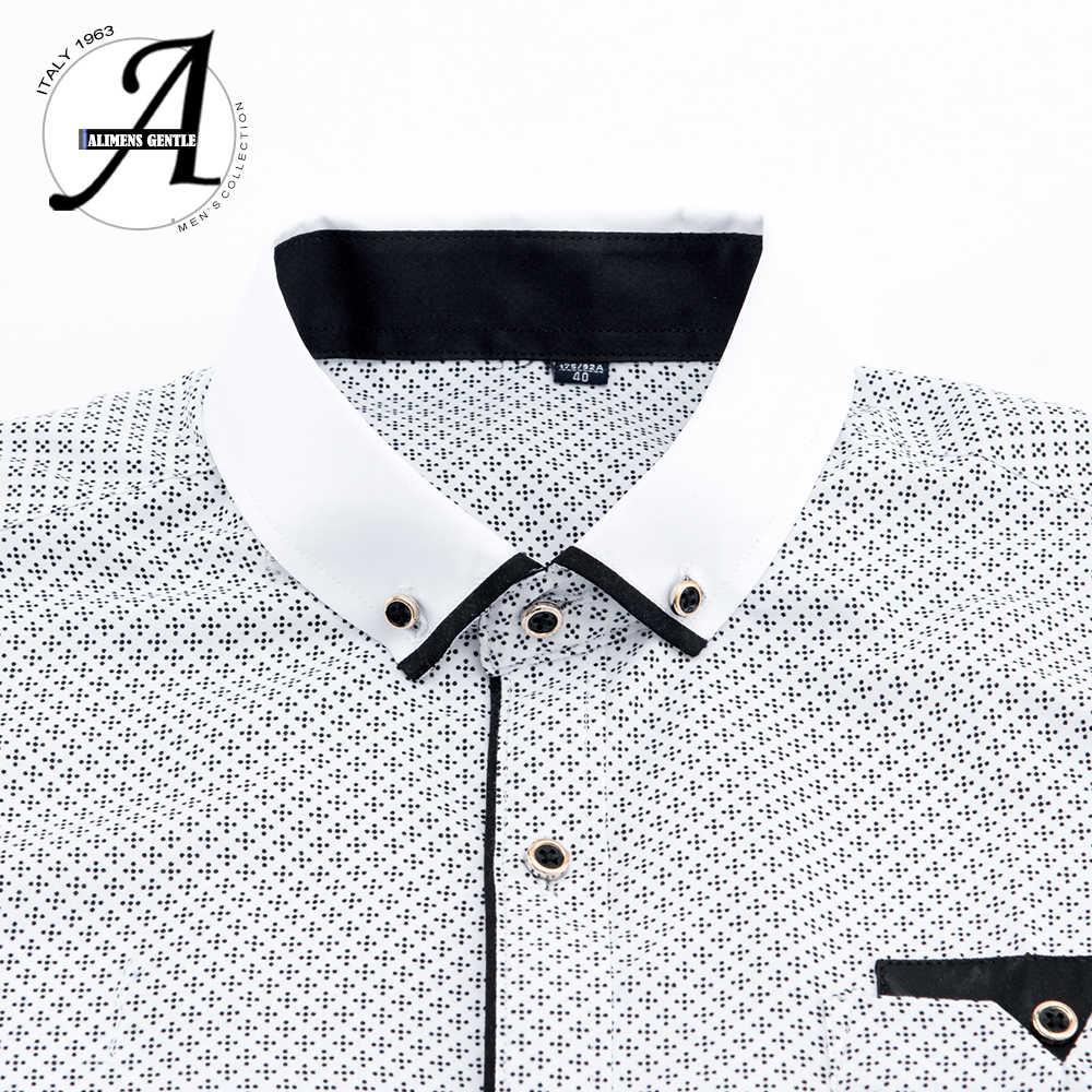 Gedrukt Plaid Polka Dot Mannen Shirt Lange Mouwen Casual Shirts Voor Mannen Slim Fit 21 Kleuren Mannelijke Jurk Shirts camisas Masculina