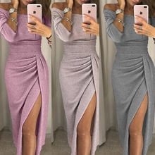 2018 Autumn Party Shiny Bodycon Dress Dinner Women Female Off Shoulder Sexy  Ruched Thigh Slit Dress d13d03524786