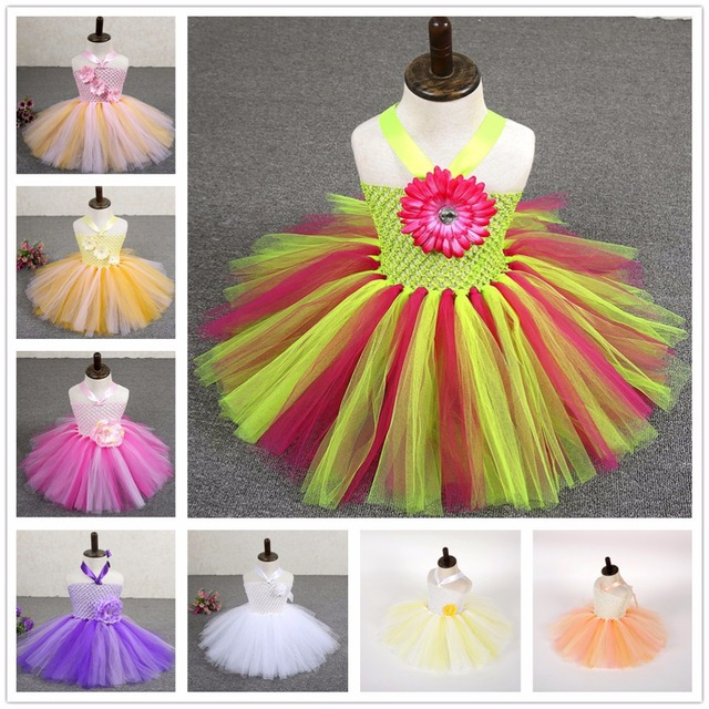 c57a99cea562 8 Colors Newborn Baby Flower Tutu Dress Toddler Girl First Birthday Party  Tutu Dresses For Kids Photo Props NB-2 T With Headband