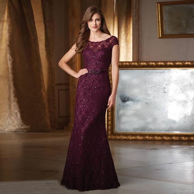 Vestido de madrina 2016 Más El tamaño Elegante Púrpura de Manga Corta Del O-cuello de Encaje Sin Espalda Ancha cintura de la Madre de la novia vestidos