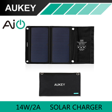 AUKEY 14 Вт Солнечное Зарядное Устройство с Двумя USB Порт Портативный Складной AiPower Адаптивные Технологии Зарядки для Apple iPhone 7 Android