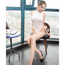Turtleneck High Cut Thong Transparent Bodysuit Women Open Crotch Exotic Lingerie Sexy Teddies Wet Look Fantasy Swimwear Swimsuit(China)