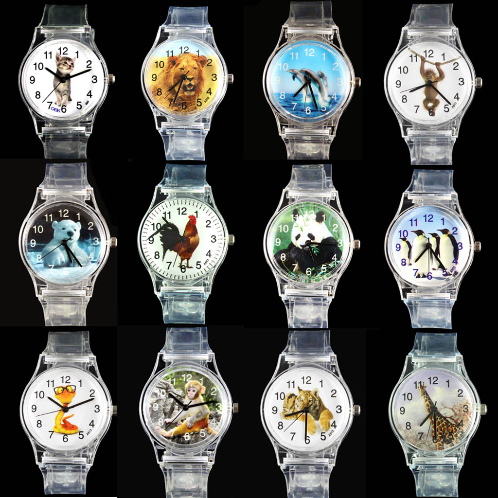 Dolphin / Cat / Lion African / Tiger / Penguin / Giraffe / Snake / Rooster / Monkey / Bear Polar / Panda Watches Sport Kuarc