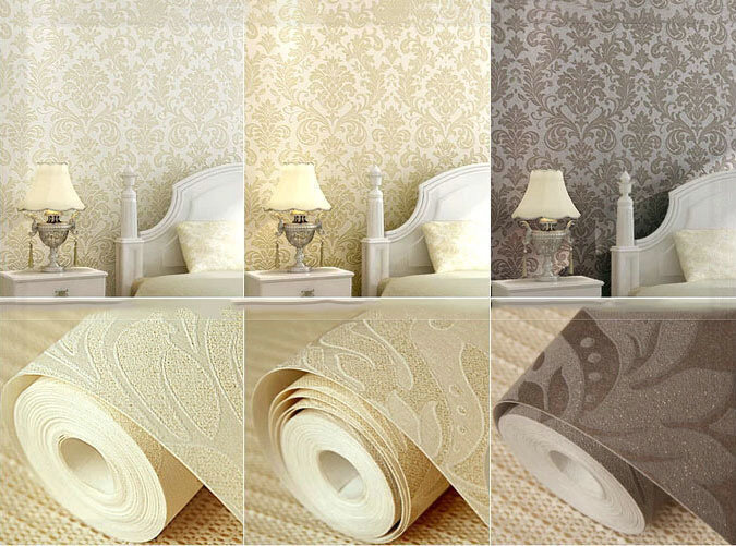 Beige champagne ochre european luxurious damask non woven for 3d effect bedroom wallpaper