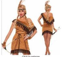 S 2XL Tassels Indian Queen Costumes Indian Costume Womens Pocahontas Native American Indian Wild West Fancy