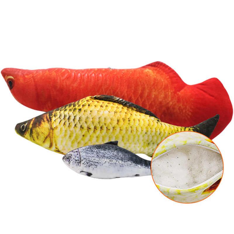 الحيوانات الأليفة لينة أفخم ثلاثية الأبعاد شكل الأسماك القط لعبة الهدايا التفاعلية الأسماك النعناع البري اللعب وسادة محشوة دمية محاكاة الأسماك اللعب لعبة للحيوانات الاليفة