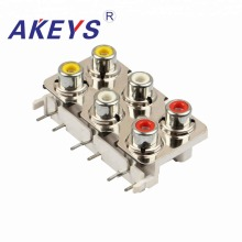 3PCS AV6-8.4-09D 6 RCA Female Outlet Audio Video AV Concentric Socket Connector